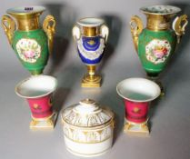 A group of 19th century and later Paris type porcelain, including vases and an oval lidded box,