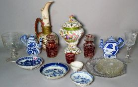 Ceramics and glass including 19th century black and white plates, Bohemian glass bottles,