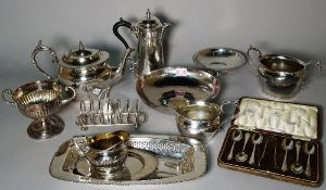Silver plated wares including teapots, urns, bowls, a toast rack and sundry, (qty).