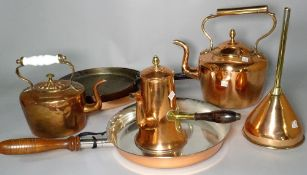A collection of copper ware including kettles, warming pan, samovar and sundry, (qty).