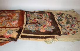 A quantity of mostly early 20th century tapestry seat covers, (qty).