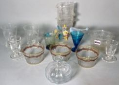 A group of 19th century and later glass, including gilt decorated finger bowls,