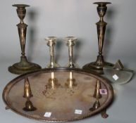 A pair of modern silver table candlesticks, marked 925, 15cm high, a pair of plated candlesticks,