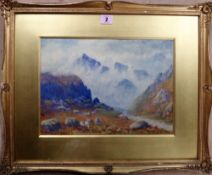 E. Brown (early 20th century), Mountainous landscape, watercolour, signed, 24cm x 33cm.