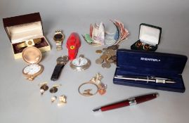 Collectables; a quantity of coins, banknotes, costume jewellery and sundry, (qty).
