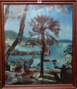 English School (20th century), Coastal scene with tree, oil on canvas, 65cm x 54cm.