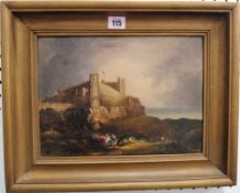 English School (19th century), View of a coastal castle, probably Bamburgh Castle, oil on panel,