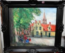 M**van Loocke (20th century), Figures in a square, Bruges, oil on canvas, signed, 58cm x 69cm.
