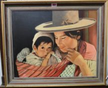 Leslie Carpenter (20th century), Mother and child, oil on board, signed, 39cm x 49.