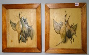 Two wall plaques depicting game birds including a Mallard, Snipe and Curlew, (2).
