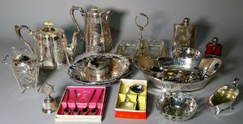 Silver plated wares including bowls, a quantity of condiment spoons, napkin rings,