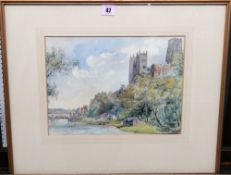 A group of three early 20th century watercolours, including a view of Durham from the river,