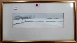 John Osborne (b.1939), Snowy landscape, oil on board, signed, 9cm x 30cm.