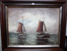 R** Clarys (20th century), Boats off the coast, oil on canvas, indistinctly signed, 60cm x 79cm.