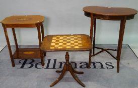 An Edwardian mahogany kidney shaped side table, 62cm wide x 73cm high,