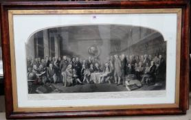 After F. Skill and W. Walker, Men of Science, engraving by W. Walker, arched top, 57cm x 105cm.
