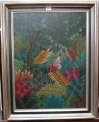 Naval (20th century), a Haitian scene of ferns and foliage, oil, indistinctly signed and dated '88,