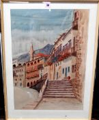 John Sobry (20th century), Cyprus, pen, ink and watercolour, signed, inscribed and dated '73,