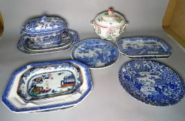 A group of 19th century and later mainly blue and white ceramics including serving dishes,