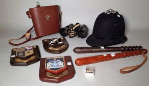 Collectables including a police helmet, two truncheons, three plaques, binoculars and sundry, (qty).