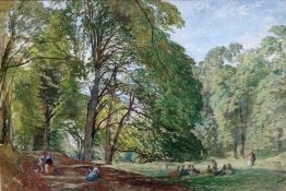 George Haydock Dodgson (1811-1880), Figures in parkland, watercolour, signed and dated '63,