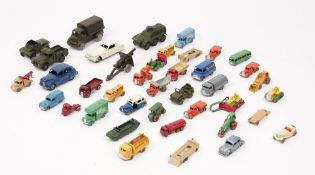 A quantity of die-cast vehicles, playworn, including; Dinky military, Matchbox Lesney and sundry,