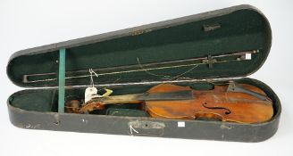 A Continental violin, early 20th century, with bow and hard case, back measures 14 1/4 inches,
