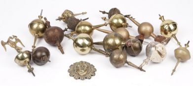 A large quantity of horological parts and accessories including; clock case brass embellishments,