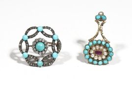 A late 19th/early 20th century turquoise and diamond set brooch, of circular openwork design,