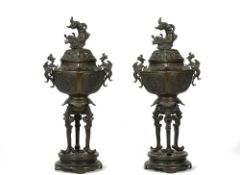 A pair of Japanese bronze vases and covers, early 20th century,