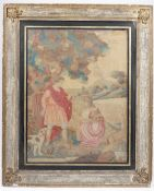 A Regency silkwork picture depicting a figural harvest scene in a distressed gilt and painted