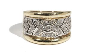 An 18ct yellow gold and diamond-set dress ring of tapered plaque design,