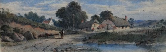George James Knox (1810-1897), Figures near a cottage, watercolour, signed and dated 1867, 13.