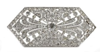 An Art Deco style diamond-set brooch of lozenge shaped plaque design,