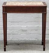 An 18th century Continental marble top console, with walnut single drawer base,