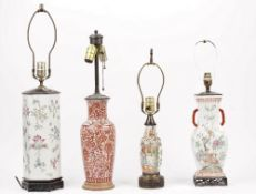 Four Chinese vases, each converted to a table lamp,