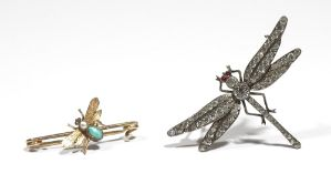 A yellow precious metal, seed pearl and turquoise set bar-brooch designed as a bee in flight,
