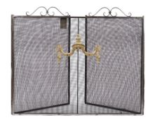 An ebonised steel folding fire screen, with triptych mesh panels, 89cm high, 250cm wide overall.