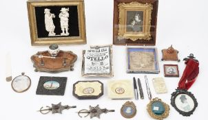 A quantity of collectables, including a Fornasetti porcelain 'Othello' tray, 22cm,