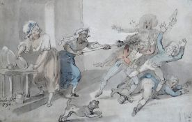 Follower of Thomas Rowlandson, 'Swept aside', pen, ink and watercolour, bears a signature and date,