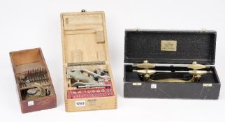A Horologists 'Jewelling' tool by 'Favorite', cased, a brass depthing lathe, cased,