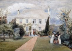 Attributed to Richard Cox Junior (19th century), Elegant figures in a garden before a country house,