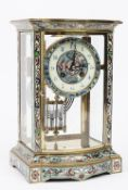 A French brass and champleve enamel four glass mantel clock, late 19th/ early 20th century,