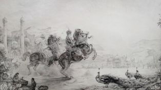 Edward Julius Detmold (1883-1957), 'Morning Ride', etching, signed in pencil, 23cm x 39.5cm.