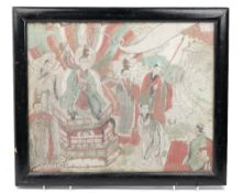 A Chinese painted rectangular panel, probably 19th century, depicting figures in an interior,