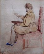 Charles Richard Bone (1809-1880), Self portrait at an easel, watercolour and pencil,