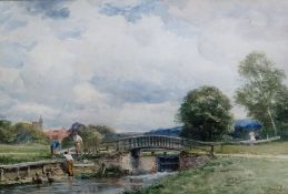 David Bates (1840 - 1921) The lock, Guildford; Clearing the mill pool, Thatcham, two watercolours,