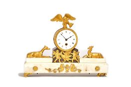 A Regency Ormolu and patinated bronze mounted white marble timepiece mantel clock, circa 1820,