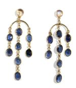 A pair of precious yellow metal, moonstone and sapphire-set pendant earrings, of chandelier design,