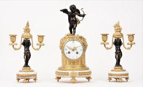 A French ormolu and white marble clock garniture, circa 1880,